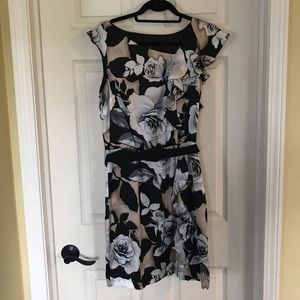 WHBM silk ruffle dress with roses Size 6